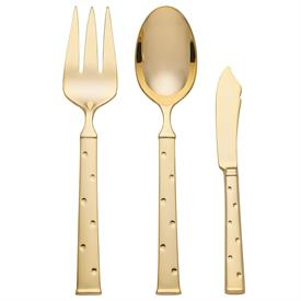 -GOLD 3 PC SERVING SET. INCLUDES MEAT FORK, BUTTER KNIFE, & TABLESPOON