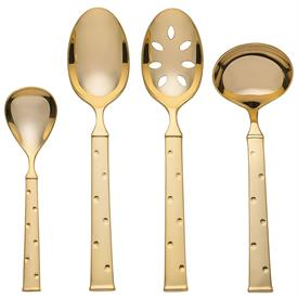 -GOLD 4 PC HOSTESS SET. INCLUDES TABLESPOON, PIERCED TABLESPOON, SUGAR SPOON, & GRAVY LADLE