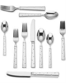 -20-PIECE SET. INCLUDES FOUR 5-PIECE PLACE SETTINGS. STAINLESS STEEL. DISHWASHER SAFE. BREAKAGE REPLACEMENT AVAILABLE.