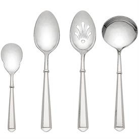 -4 PC HOSTESS SET. INCLUDES SUGAR SPOON, SERVING SPOON, PIERCED SERVING SPOON & GRAVY LADLE.