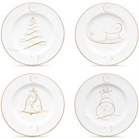 -SET #1 OF 4 HOLIDAY APPETIZER PLATES. INCLUDES ONE EACH SNOWMAN, BELL, TREE, & SLED