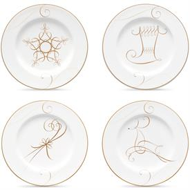 -SET #2 OF 4 HOLIDAY APPETIZER PLATES. INCLUDES 1 EACH STAR, REINDEER, STOCKING, & CANDY CANE.