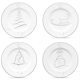 -#1 SET OF 4 HOLIDAY PLATES. ONE EACH SNOWMAN, BELL, TREE, SLED