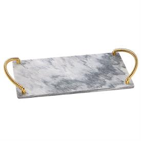 "-CHALLAH TRAY. MARBLE BASE. 15"" LONG, 8.75"" WIDE"