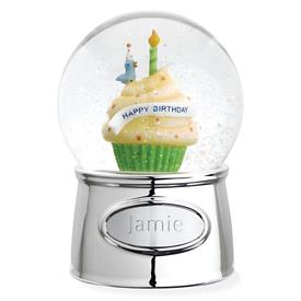 ",-$3221 HAPPY BIRTHDAY WATERGLOBE SILVERPLATED WITH COLOR ENAMEL.4.5""TALL. COMES WITH AN ENGRAVABLE PLAQUE.PLAYS HAPPY BIRTHDAY TO YOU."