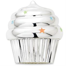 "-$3223 MUSICAL CUPCAKE SILVER PLATE WITH COLORED ENAMEL PLAYS HAPPY BIRTHDAY TO YOU 2 3/4""HGT."