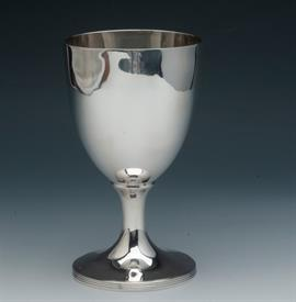 ",LARGE WATER GOBLET STERLING 7.5"" HAND WROUGHT, OLD HALLMARKS 7.5 TROY OUNCES, faint gold wash inside bowl"