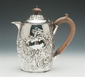 ",VICTORIAN COFFEE JUG STERLING SILVER MADE IN BIRMINGHAM, ENGLAND CIRCA 1879 7.5"" TALL 15 TROY OUNCES NICELY DECORATED BIRS AND SCROLL WORK"