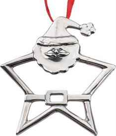 -,XOS4154 SANTA STAR STERLING SILVER ORNAMENT BY HAND & HAMMER