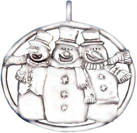 "-,4030 3 SNOWMEN STERLING SILVER ORNAMENT 2"" BY HAND & HAMMER"