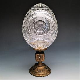",ROMANOV IMERIAL EAGLE EGG ON BASE. MOUTH BLOWN CRYSTAL & HAND ETCHED. LIMITED EDITION #79/500. 7"" TALL."
