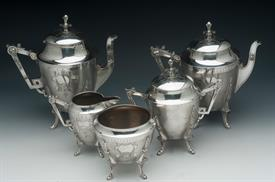 MERIDEN ORNATE 5PC.SET IN WELL LOVED CONDITION & SOLD AS IS