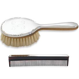 "-$P829 GEORGIA GIRL'S BRUSH & COMB SET. BRUSH 5.75"" LONG. COMB 4.5"" LONG. NON-TARNISH PEWTER WITH BOAR'S HEAR BRISTLES."