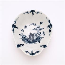""",1775-1760 'TWO PEONY ROCK BIRD' SHELL SHAPED PICKLE DISH. SOFT PASTE PORCELAIN. ARTIST 'SIGNED'. 4.25"""" X 3.6"""" WIDE, 1.2"""" DEEP. RARE"""