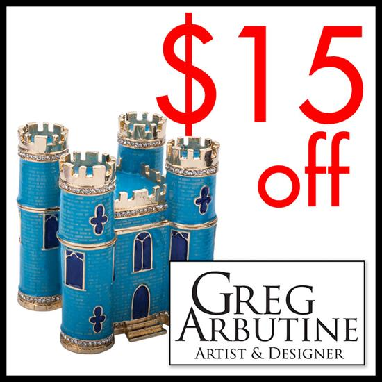 Miscellaneous Deduct $15 off your purchase of $75 or more from any Artist Greg Arbutine Products  Expires: 12/31/2018