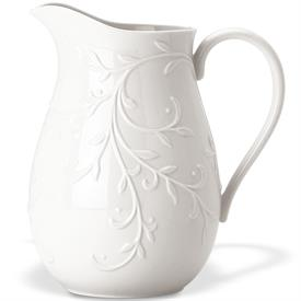 "-PITCHER. 8.5"" TALL, 80 OZ. CAPACITY. DISHWASHER & MICROWAVE SAFE. BREAKAGE REPLACEMENT AVAILABLE. MSRP $86.00"