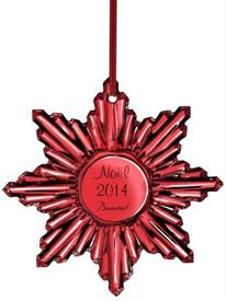 ,2014 ANNUAL RED NOEL ORNAMENT LEAD CRYSTAL