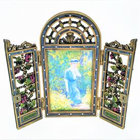 ",ENGLISH GARDEN JEWELED ENAMELED TRELLIS PICTURE FRAME 3"" X 4.5"", TOTAL MEASUREMENT 6.5""H X 7""W"