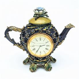 ",TEAPOT CLOCK, LIMITED EDITION #24/450. 5.25""T X 6""W X 2.75""D. HAND ENAMELED W/ SWAROVSKI CRYSTALS. SMALL 'BOX' IN LID. OPEN BOTTOM."