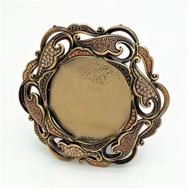 """,#5256 LIBRE 'CARMELA' ROUND PICTURE FRAME. HOLDS 2.25"""" PHOTO. TOPAZ COLORED HAND SET SWAROVSKI CRYSTALS WITH HAND ENAMELING OVER A PEWTER B"""