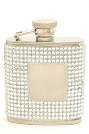 ",_21010 WHITE CRYSTAL STAIN STEEL 2.5OZFLASK WITH ENGRAVEABLE PLAQUE 1.5X1.5 FLASK MEASURES 3""X3.5"""