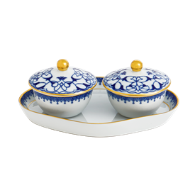 -PAIR OF HEIRLUMINARE VOTIVES WITH TRAY