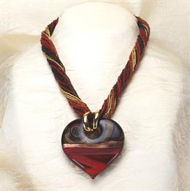 ,-05314 DIAMANTE HEART PENDANT NECKLACE IN RED