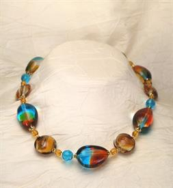 -,05001 PARADISO NECKLACE IN AQUA, AMBER