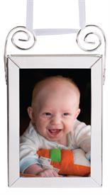 _3923 FRAME 2X3 DBL SIDED VERTICAL SILVER PLATED WITH WHITE RIBBON FOR HANGING.
