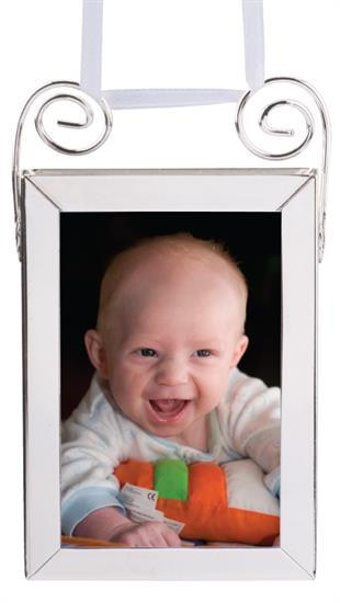 CREATIVE GIFTS 3923 FRAME 2X3 DBL SIDED VERTICAL SILVER PLATED WITH WHITE RIBBON FOR HANGING.