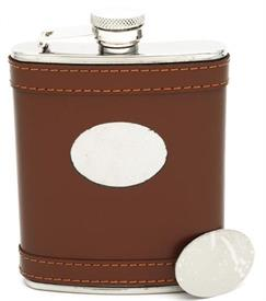 "_21046 FLASK BROWN LEATHER WITH ENGRAVING PLATED STAINLESS STEEL HOLDS 6OZ 5.25"" HIGH.COMES WITH FILLING FUNNEL."