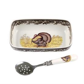 "-8"" CRANBERRY SERVER WITH SPOON. MSRP $37.50"