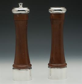 ",STERLING AND WOOD 8.3"" TALL SALT & PEPPER MILLS"