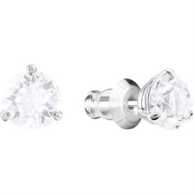 -,1800046 SOLITAIRE PIERCED EARRINGS IN CLEAR & RHODIUM PLATE. .5 CM WIDE