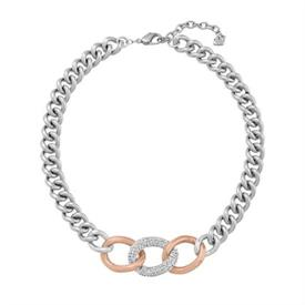 ,_5080040 Bound Necklace 2 Tone Curb Link Fashion Necklace with Pave Element Center