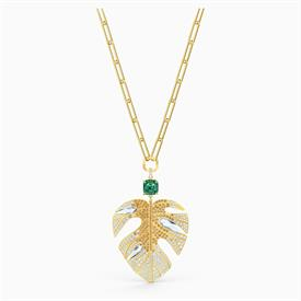 """_,5512695 TROPICAL LEAF PENDANT IN GREEN & GOLD-TONE PLATE. 13.3"""" LONG WITH 2.2"""" EXTENDER CHAIN & 1.5"""" PENDANT."""