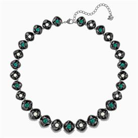 """_,BLACK BAROQUE NECKLACE, MULTI-COLORED, RUTHENIUM PLATED. 14.8"""" LONG"""