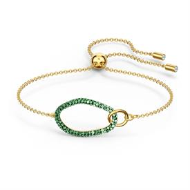 """_,THE ELEMENTS, GREEN, GOLD-TONE PLATED BRACELET. ADJUSTABLE UP TO 10.2"""" LONG WITH 1.2"""" X .6"""" CENTRAL DECORATION"""