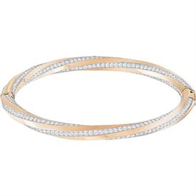 "-,5289409 HILT BANGLE IN CLEAR & ROSE GOLD PLATE. 2.25"" WIDE, 2"" TALL (AT CENTER)"
