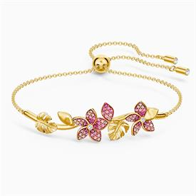 -,5521058 TROPICAL FLOWER BANGLE IN PINK & YELLOW-GOLD PLATE. ADJUSTABLE SIZE.