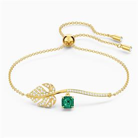 -,5519234 TROPICAL BRACELET IN GREEN & YELLOW-GOLD PLATE. ADJUSTABLE.