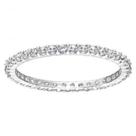-,5500174 VITTORE STACKING RING IN CLEAR & RHODIUM PLATE. SIZE 55, US 7