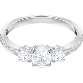 -,5414972 ATTRACT TRILOGY RING IN CLEAR & RHODIUM PLATE. SIZE 55, US SIZE 7