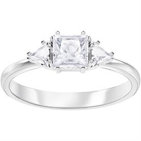 -,5371381 ATTRACT TRILOGY RING IN CLEAR & RHODIUM PLATE. SIZE 55, US SIZE 7
