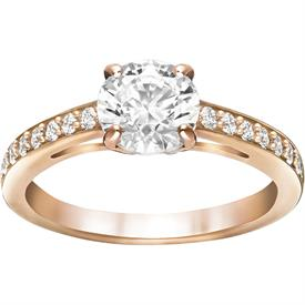 -,5149218 ATTRACT ROUND RING IN CLEAR & ROSE GOLD. SIZE 55, US SIZE 7