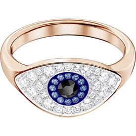 -,5425858 DUO EVIL EYE RING IN ROSE GOLD. SIZE 55, US SIZE 7