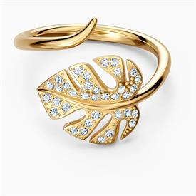 -,5535560 TROPICAL LEAF OPEN RING IN YELLOW-GOLD TONE. SIZE 58.
