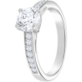 -,5032921 ATTRACT RING IN CLEAR & RHODIUM PLATE. SIZE 55, US SIZE 7