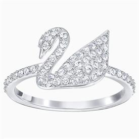 -,ICONIC SWAN RING IN WHITE. RHODIUM PLATED. SIZE 52/US 6