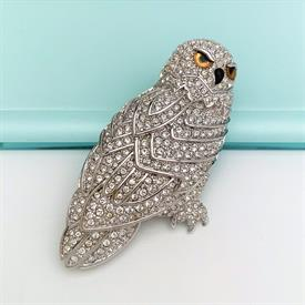 ",RETIRED PAVE SNOWY OWL BROOCH. 2"" WIDE, 2.9"" LONG"